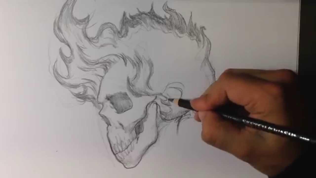 Drawn skull on fire Hair with Skull Tattoo Skull
