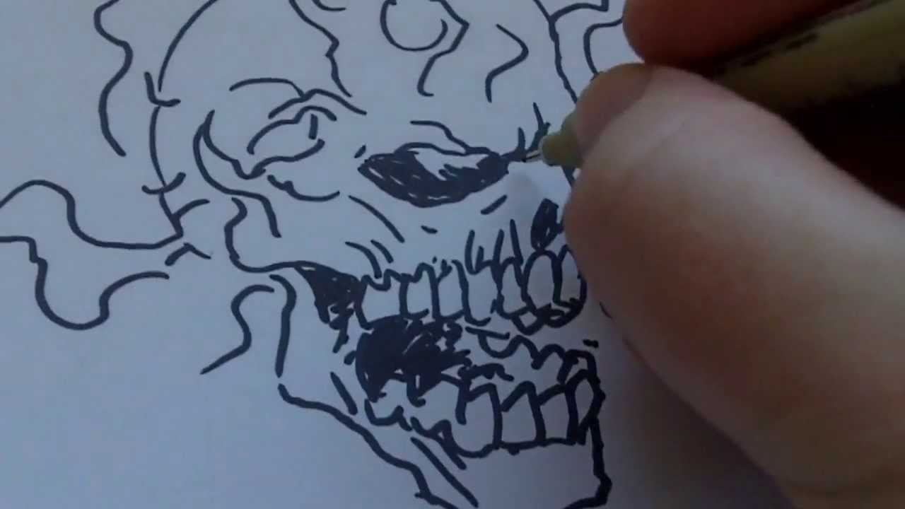 Drawn skull on fire With On YouTube Sharpie Skull
