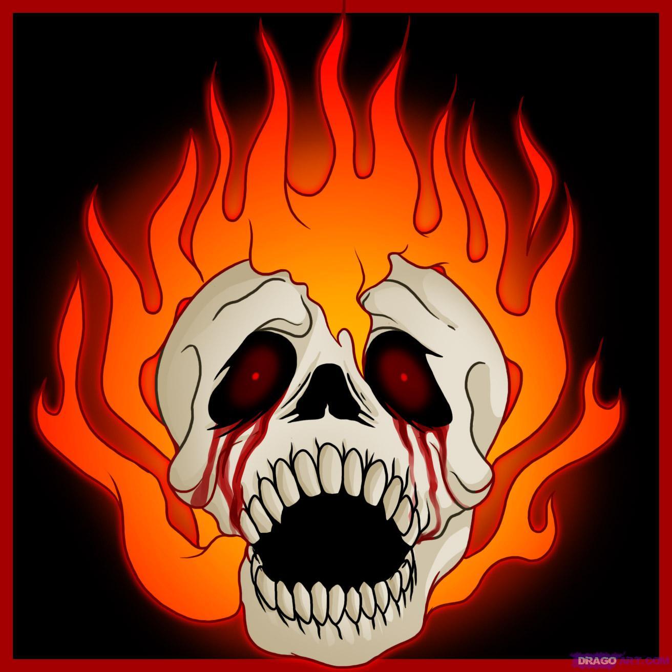 Drawn skull on fire Fire Skulls Step Skull a