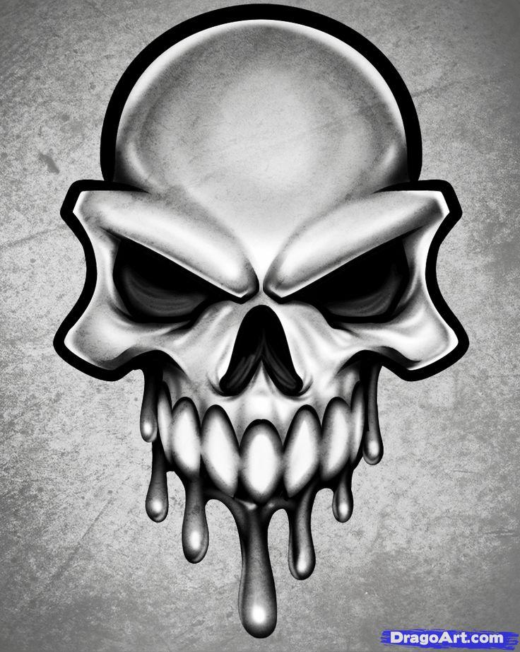 Drawn sleleton head bone Tattoo draw Pinterest to skulls