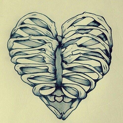 Drawn sleleton heart tumblr More skull sketches on Pin