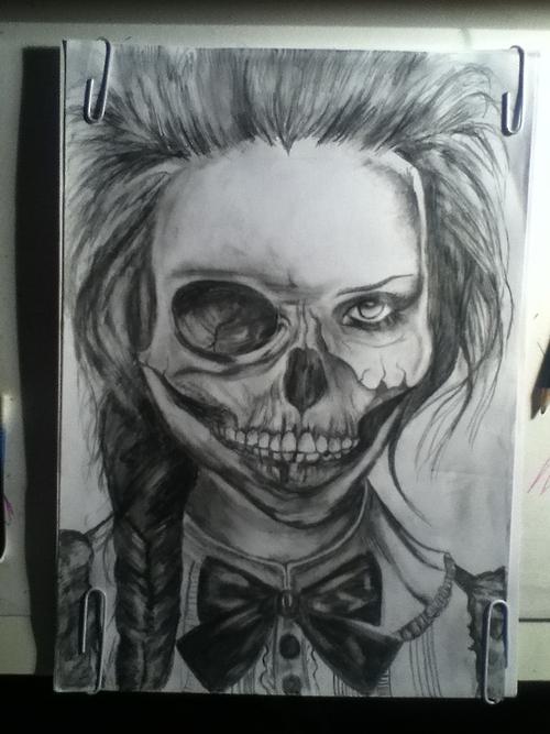 Drawn skeleton heart tumblr Girls girl It image drawing