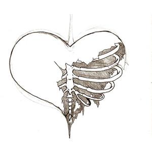 Drawn sleleton heart tumblr I to want sketch Polyvore