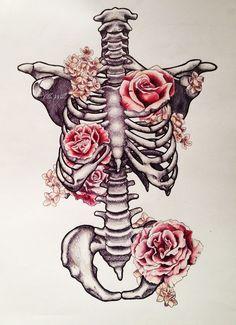Drawn sleleton heart tumblr Cage Artist Tattoo Skeleton