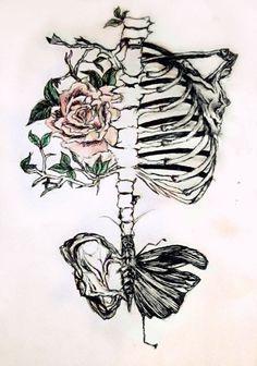 Drawn sleleton heart tumblr Dead peindre plus living; le
