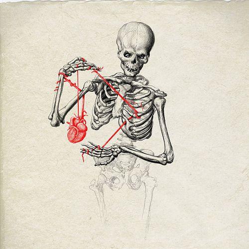 Drawn sleleton heart tumblr Bones on heart Pinterest feel