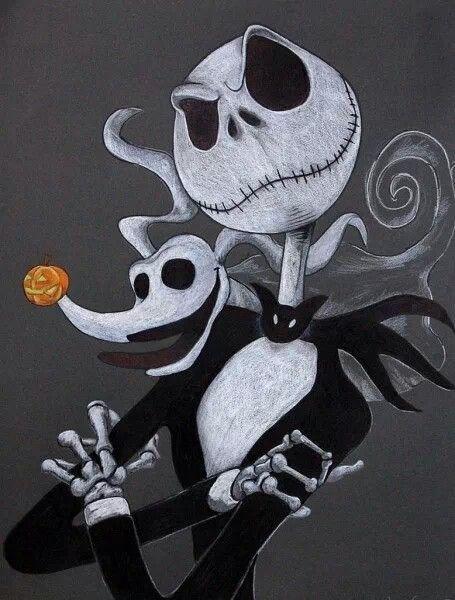 Drawn sleleton jack King best his pumpkin Zero