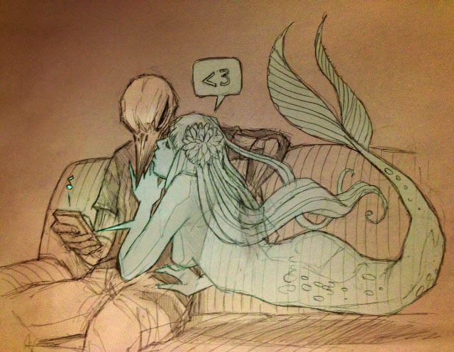 Drawn sleleton little Mermaid and More and Guy