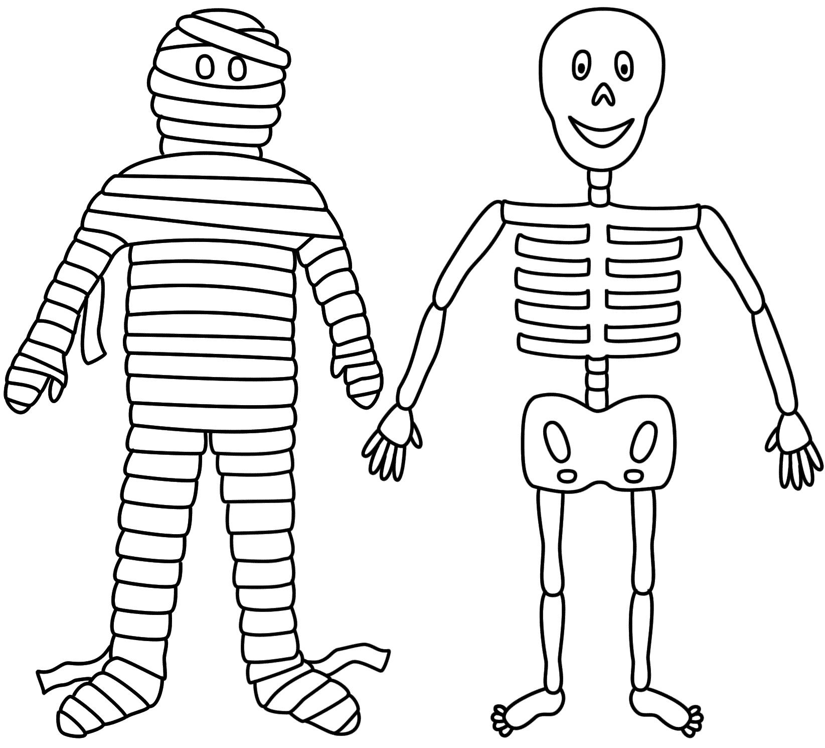 Drawn sleleton printable halloween Page Coloring (Halloween) coloring Skeleton