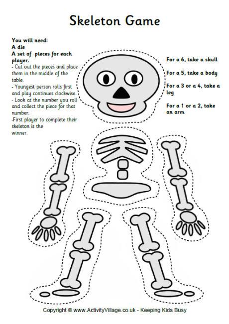 Drawn sleleton printable halloween Skeleton Printable Game Skeleton game