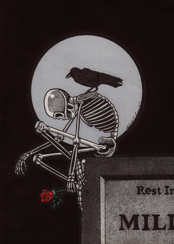 Drawn sleleton sad Ink A Skeletons Pinterest Skeleton