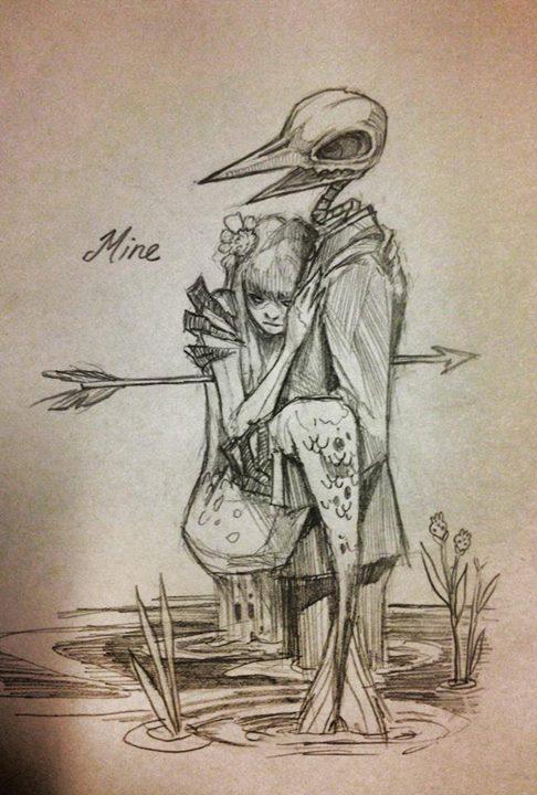Drawn sleleton sad Mermaid complete I'm Guy on
