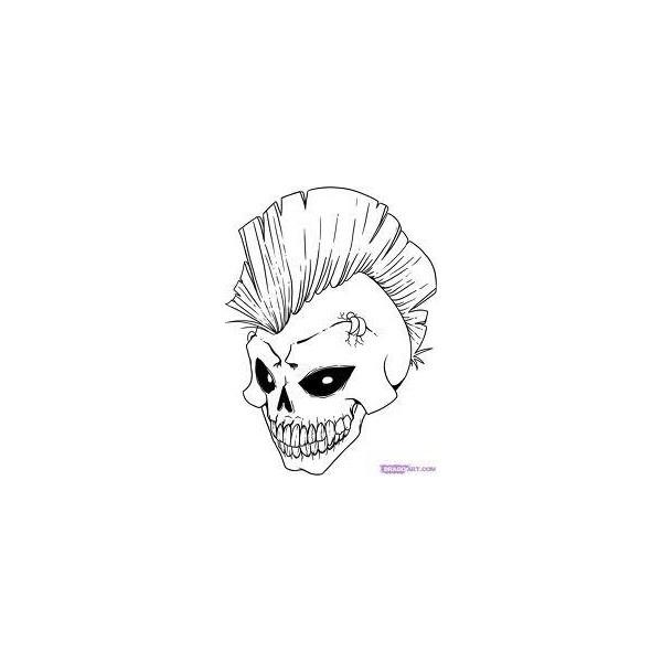 Drawn skull simple On Polyvore top Simple drawings