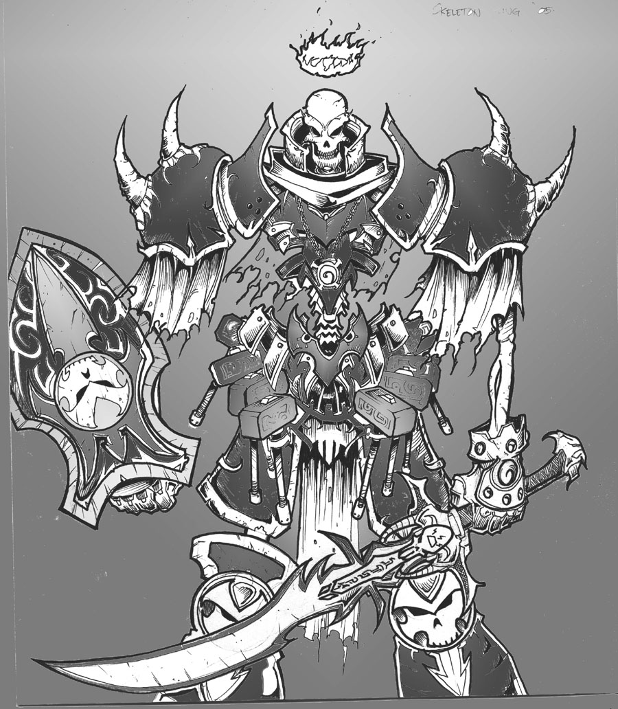 Drawn sleleton skeleton king Skeleton Scale King  on
