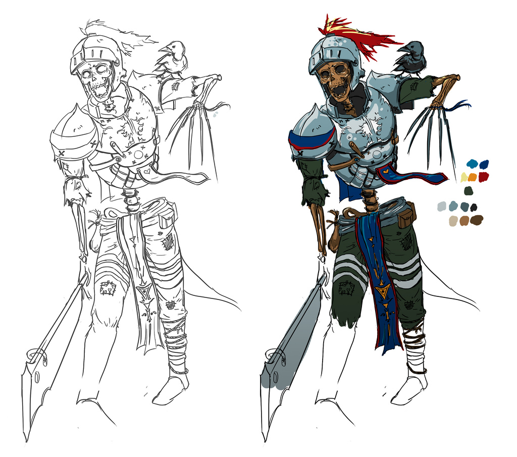 Drawn sleleton skeleton knight Knight Concept Character Knight Character