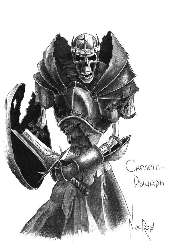 Drawn sleleton skeleton knight TheNecros fantasy art Knight by