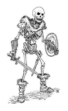 Drawn skeleton skeleton warrior By skeleton Domigorgon to Skeleton