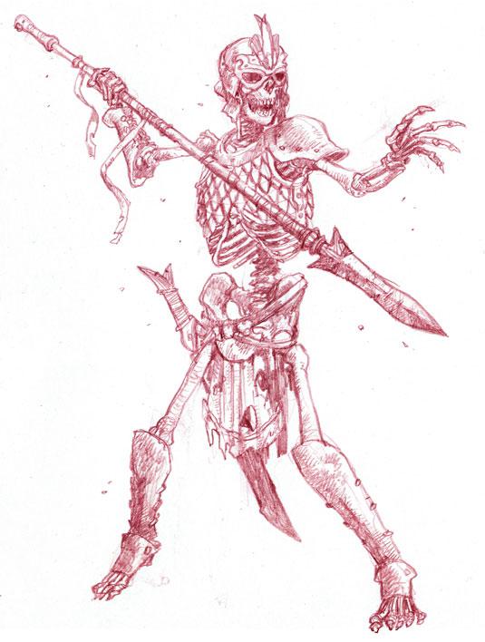 Drawn skeleton skeleton warrior Draw draw fearsome skeleton warriors