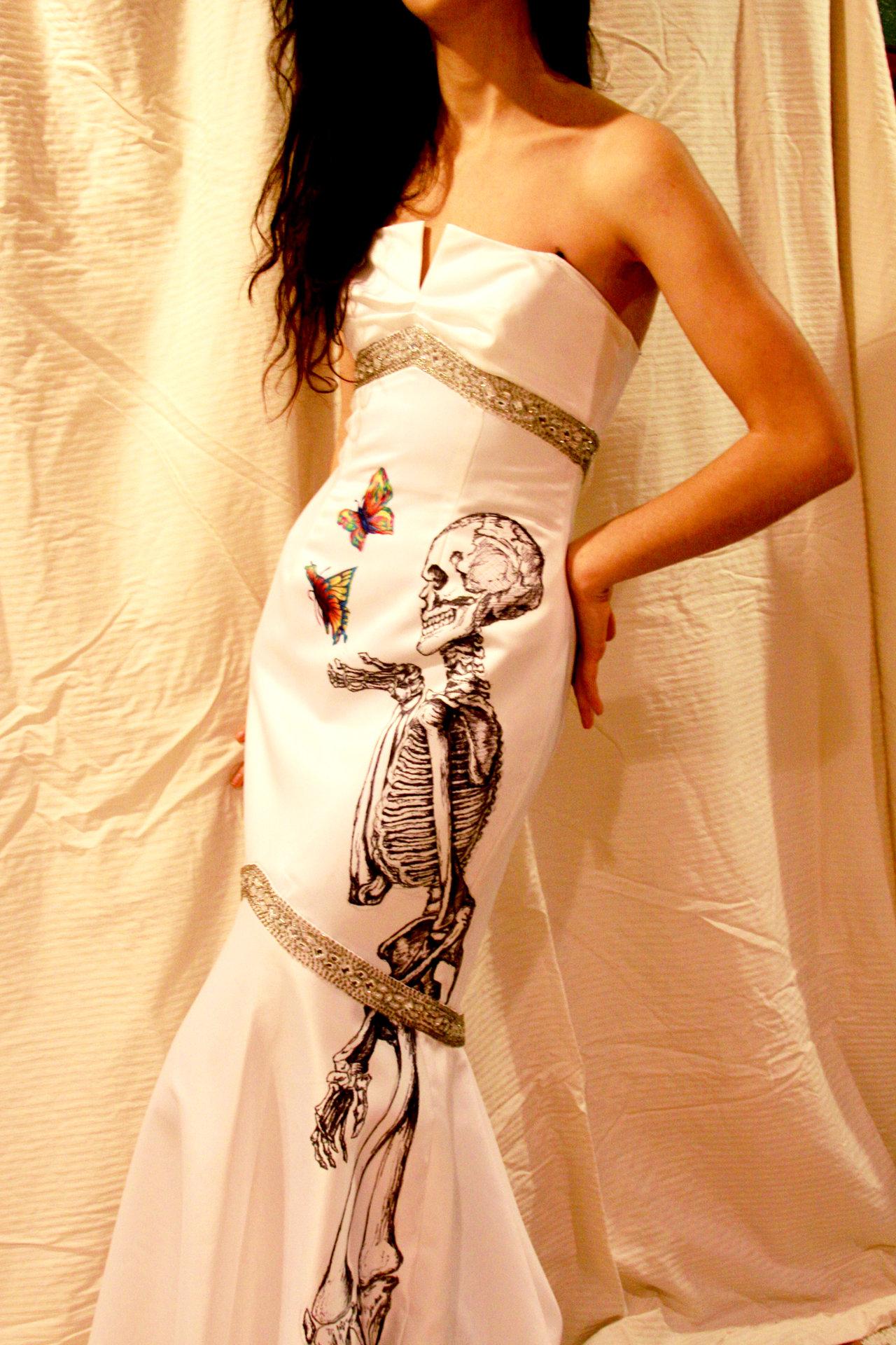 Drawn sleleton traditional Hand Dress Skeleton  Mermaid