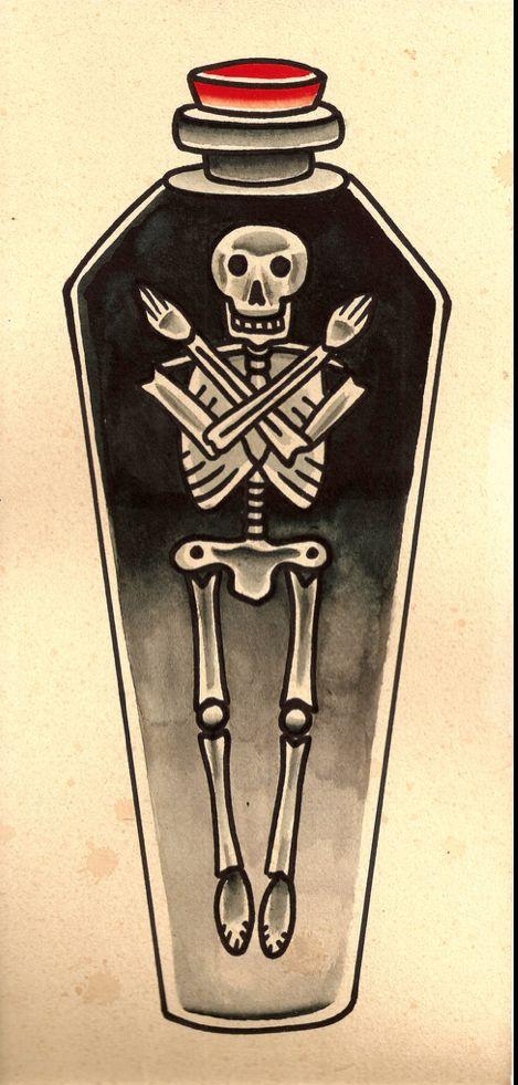 Drawn sleleton traditional Pinterest Skeleton Coffin tattoo in