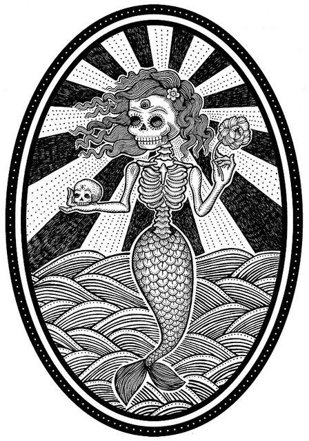 Drawn sleleton traditional La skeleton Best sirena Pinterest