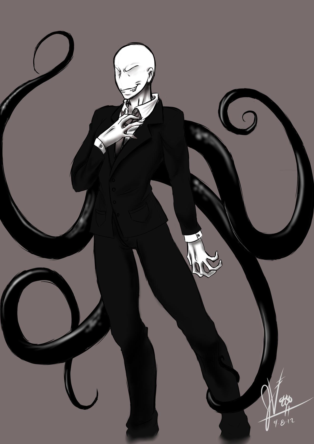 Drawn slenderman anime Man Chibi Slender Slender Anime