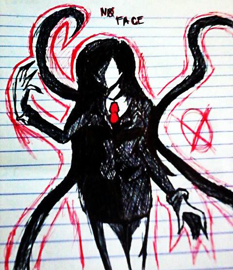 Drawn slender man anime Man version  otaku18princess girl