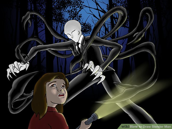 Drawn slender man cartoon Man Image wikiHow How Slender