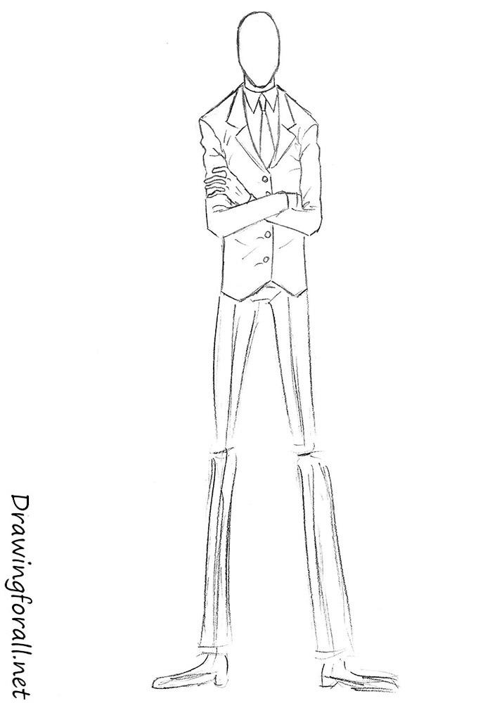 Drawn slenderman couple sketch Net Slenderman to by step