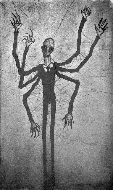 Drawn slender man creepy On only abandoned Hill Cane
