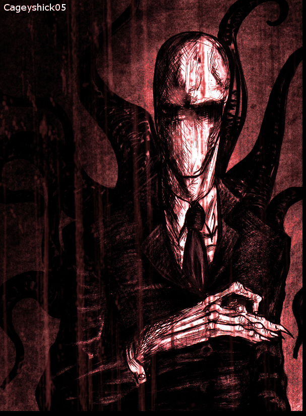 Drawn slender man creepy DeviantArt Scary by by Cageyshick05