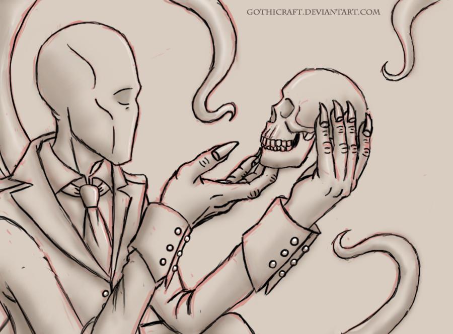 Drawn slenderman awesome Skull sketch Gothicraft and skull