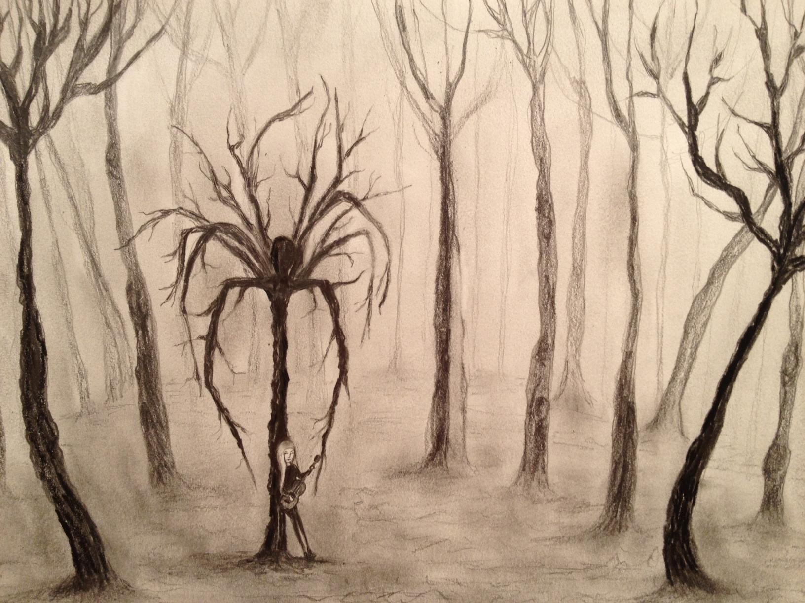 Drawn slender man landscape Man #2 Morgenstern Man –