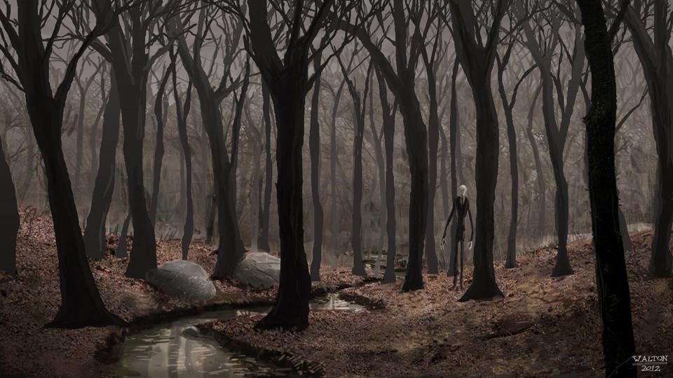 Drawn slender man landscape By Psycho on Slender by
