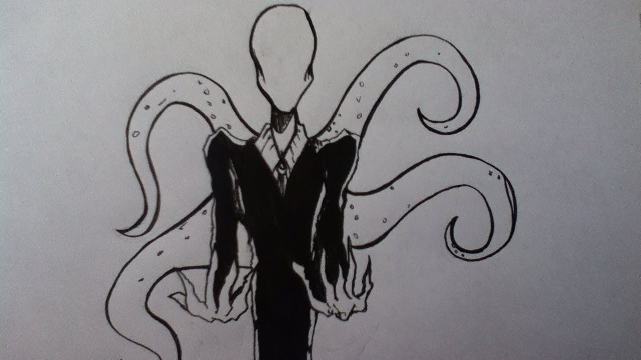 Drawn slenderman Drawing Slenderman Drawing Slenderman YouTube