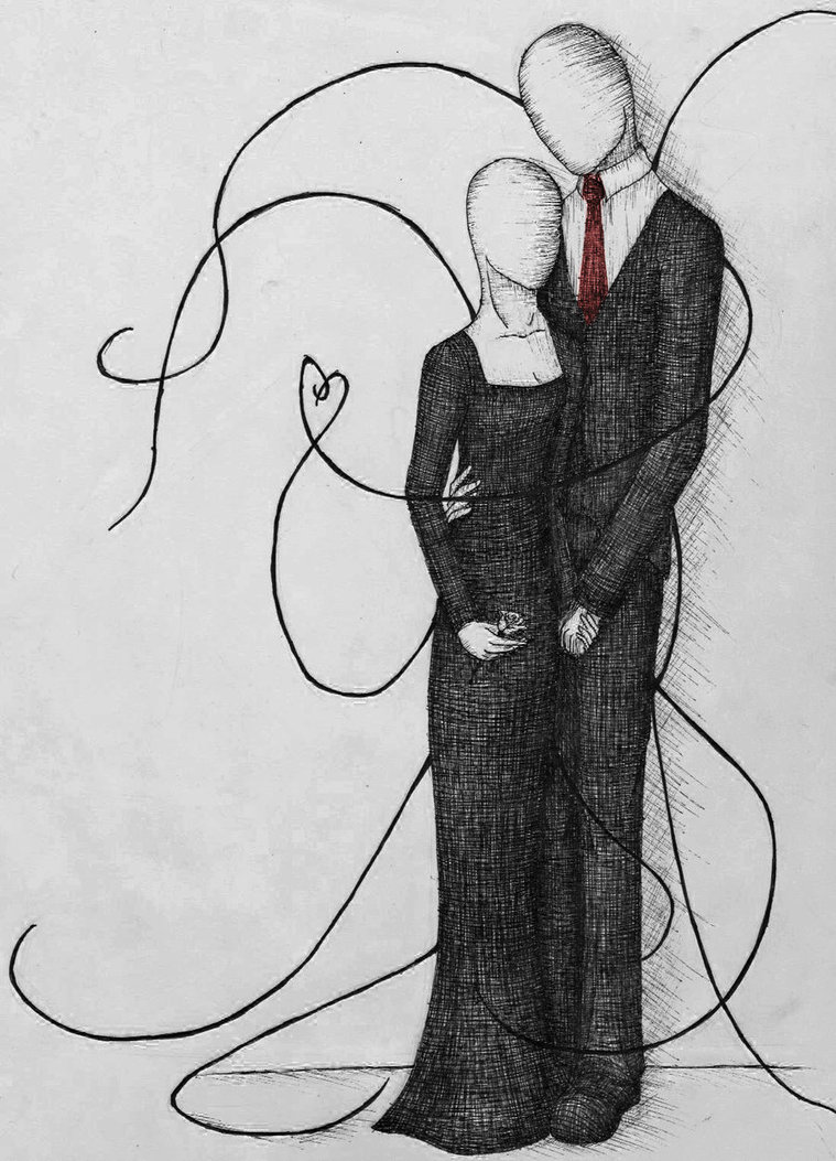 Drawn slenderman couple sketch On Caelistis Faceless Couple by