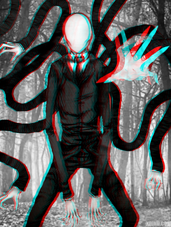 Drawn slenderman happy Man 3D png (600×794)