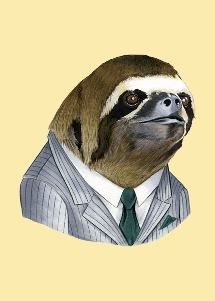 Drawn sloth Sloth and 5x7 print print