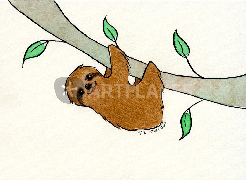Drawn sloth ARTFLAKES Tree
