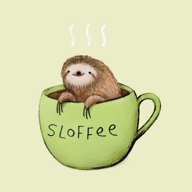 Drawn sloth adorable puppy Images sloth coffee and on