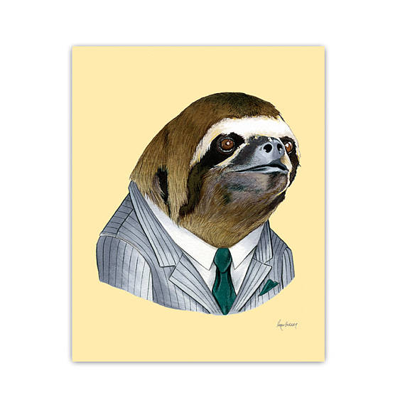 Drawn sloth dressed Up pick art some Head