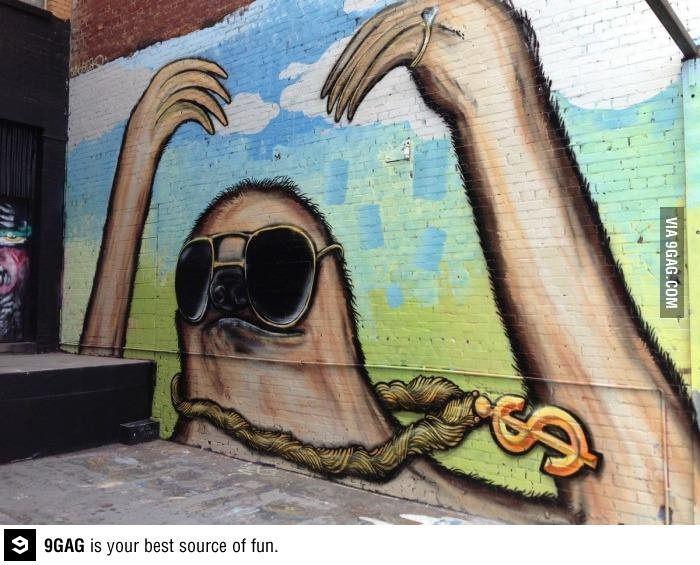 Drawn sloth graffito Of 35 on streets the