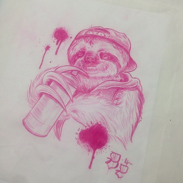 Drawn sloth graffito In for be Tattoo grabs