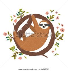 Drawn sloth hanging on tree The set tree  on