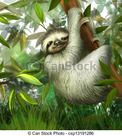 Drawn sloth hanging on tree Male jungle juvenile in toe