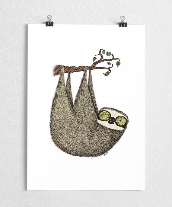 Drawn sloth hanging on tree Poster a illustration  with