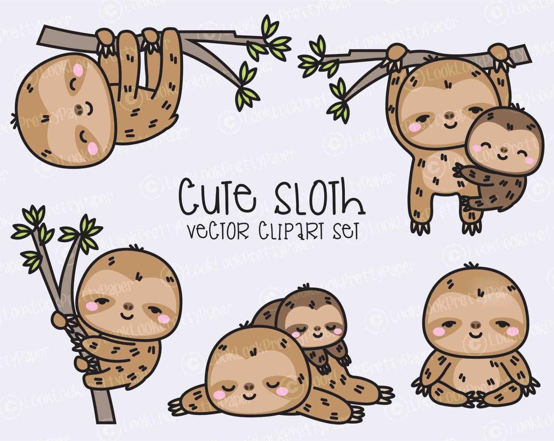 Drawn sloth kawaii  Clipart Cute Premium Sloth