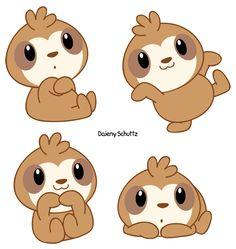 Drawn sloth kawaii #pastel Chibi Working #kawaii on
