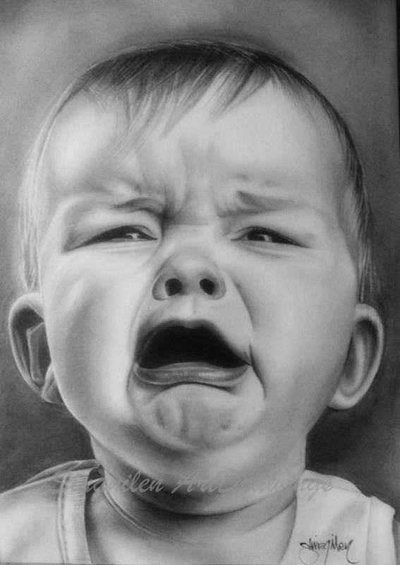 Drawn portrait children's face Faces children Realistic art face