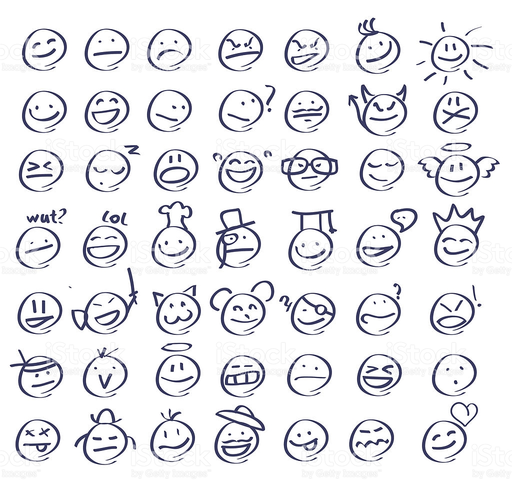 Drawn smile emotion Stock  emoticons hand smiley